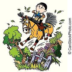 gekke , pony, paardrijden
