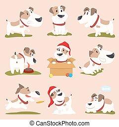 gekke , poster, illustratie, vector, closeup, honden