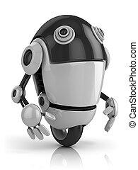 gekke , robot, illustratie, 3d