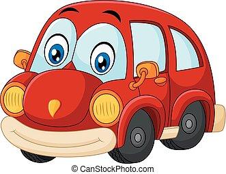 gekke , rode auto, vrijstaand, op wit, bac