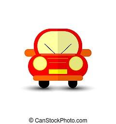 gekke , rode auto, vrijstaand, op wit, bacground.