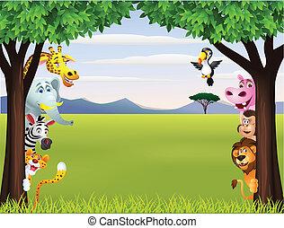 gekke , safari, dier, spotprent