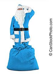 gekke , santa claus, in, blauwe , kostuum, salutes