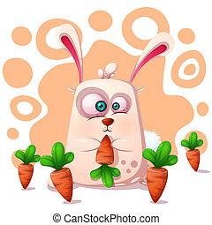 gekke , schattig, konijn, carrot.