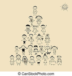 gekke , schets, piramide, gezin, groot, samen, het ...