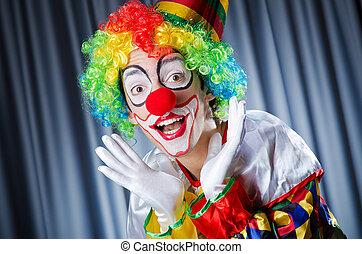 gekke , schietende , studio, clown