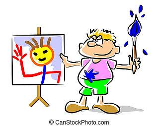 gekke , -, schilderij, illustratie, geitje