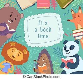 gekke , school geitjes, dieren, ongeveer, frame, books., achtergrond, back, vector, karakters, lezende , spotprent