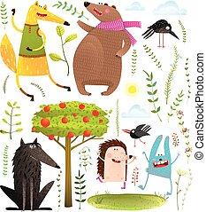 gekke , set, dieren, voorwerpen, bos, wild