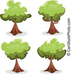 gekke , set, groene bomen