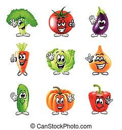 gekke , set, iconen, groentes, vector, spotprent