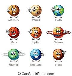 gekke , set, iconen, vector, planeet, spotprent