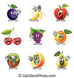 gekke , set, iconen, vector, vruchten, spotprent