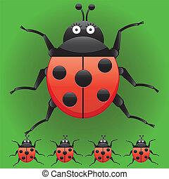 gekke , set, karakters, ladybugs, op, illustratie, vrijstaand, het kijken, links, vector, groene, dons, rechts, spotprent, achtergrond