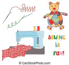 gekke , set, lapwerk, naaiwerk, -, beer, ontwerp