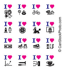 gekke , set, liefde, pictogram