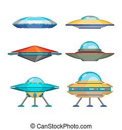 gekke , set, spaceships, buitenlanders, illustratie, vector...