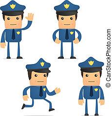 gekke , set, spotprent, politieagent