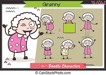 gekke , set, velen, karakter, vector, oma, uitdrukkingen, maniertjes, spotprent