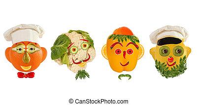 gekke , set, voedingsmiddelen, portretten, concept.,...
