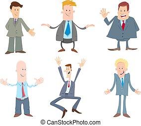 gekke , set, zakenlieden, karakters, spotprent