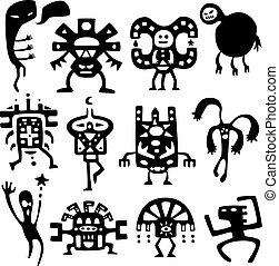gekke , shamans, en, geesten