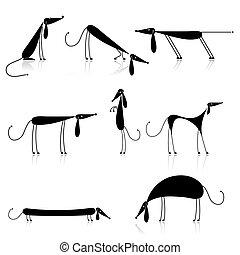 gekke , silhouette, verzameling, honden, ontwerp, black ,...