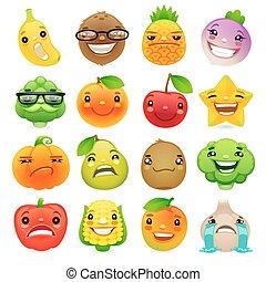gekke , spotprent, fruit en groenten, met, anders, emoties, set2
