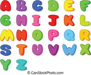 gekke , spotprent, lettertype