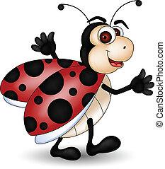 gekke , spotprent, lieveheersbeest