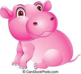 gekke , spotprent, nijlpaard