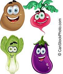 gekke , spotprent, schattig, groentes, 3