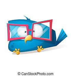 gekke , spotprent, vogel, illustration., sunglasses.