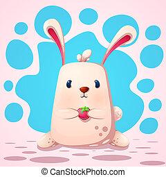 gekke , strawberry., schattig, konijn
