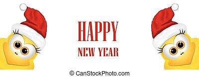 gekke , symbool, twee, haan, chicken., ontwerp, jaar, nieuw, template., kaart