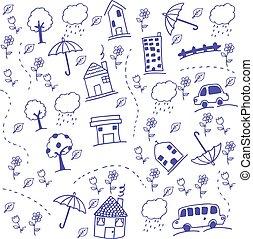 gekke , trekken, geitjes, kunst, doodle