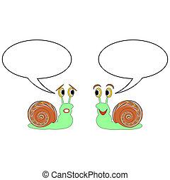 gekke , twee, bellen, snails, de bespreking van het beeldverhaal