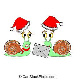 gekke , twee, kerstmis, brief, snails, spotprent