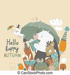 gekke , umbrella., dieren, lezen, onder, herfst, boekjes , tijd