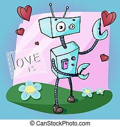 gekke , valentines, groet, illustratie, robot, vector, spotprent, dag, kaart