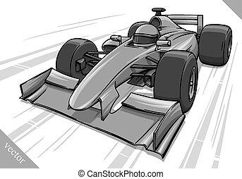gekke , vasten, spotprent, formule, de auto van het ras, vector, illustratie, kunst