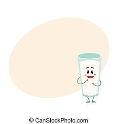 gekke , verlegen, karakter, glas, glimlachen, melk