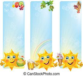 gekke , verticaal, zon, toetjes, banieren, koel, dranken