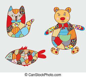 gekke , visje, lapwerk, kat, -, beer, ontwerp, speelgoed
