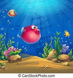 gekke , visje, vector, onderzees, wereld, beeld, rood