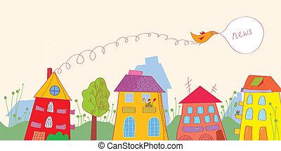 gekke , vogel, -, huisen, ontwerp, nieuws, bloemen, spandoek
