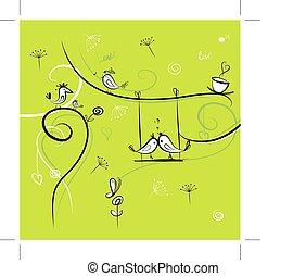 gekke , vogels, ontwerp, achtergrond, groene, jouw