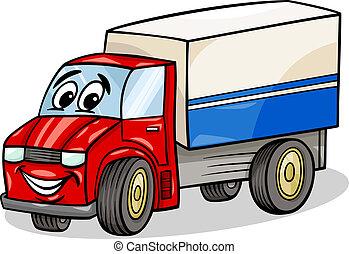 gekke , vrachtwagen, auto, spotprent, illustratie