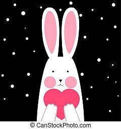gekke , vrolijke , winter, schattig, hart, -, konijn, illustration.