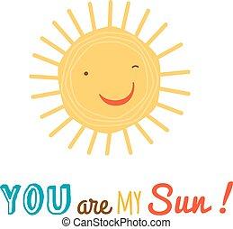 gekke , vrolijke , zon, karakter, vector, backgroound